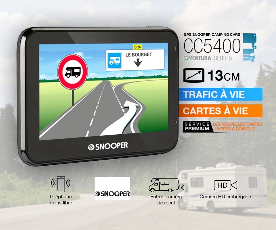 le gps camping car cc5400 snooper avec le dvr. Black Bedroom Furniture Sets. Home Design Ideas