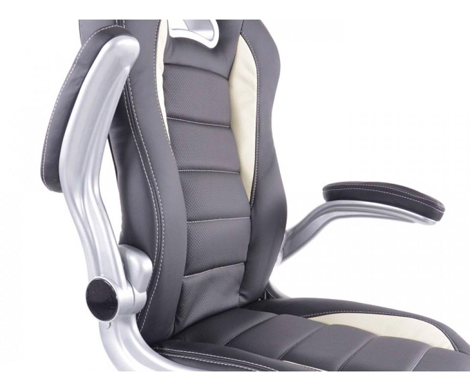 Chaise de bureau f sport en similicuir couleur noir et blanc